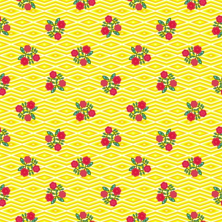 Trendy geometric yellow pattern with red flowers - decorative floral tile with using rendered and hand drawn elements Stock Photo