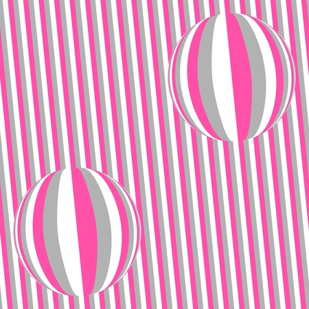 Pink gray white seamless striped pattern with balls