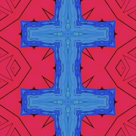 Red blue black croos pattern Stock Photo