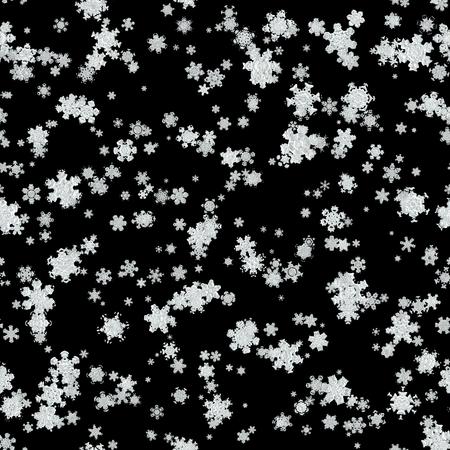 Seamless irregular blizzard on black background Stock Photo