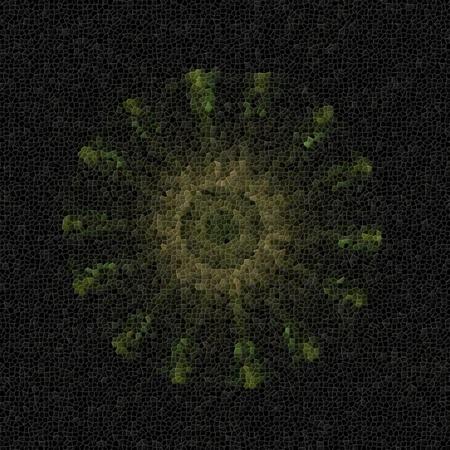 Dark mosaic floral fractal background