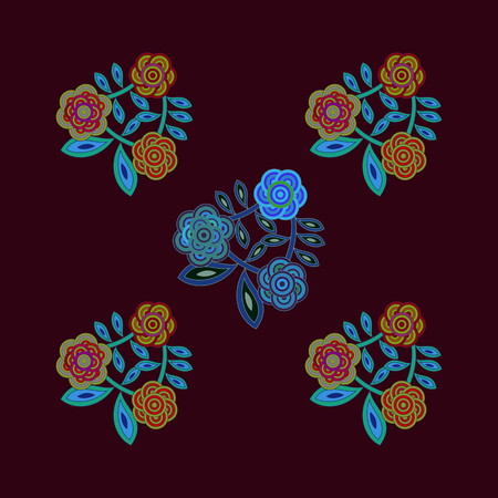 Stylized floral red blue design usable for ceramic paving tile or textile pattern printing