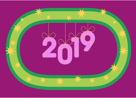 Numbers 2019 hang on a stylized wreath like inflatable balloons or ornaments. Year. 일러스트