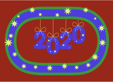Numbers 2020 hang on a stylized wreath like inflatable balloons or ornaments. Year. 일러스트