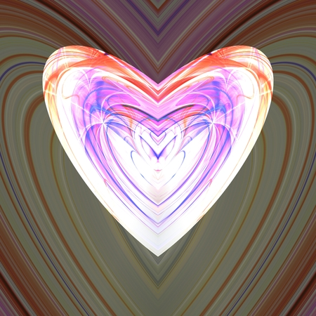 Colorful whitish fractal heart 写真素材