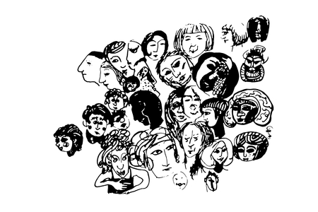 chaotic drawing of stylized human heads Stock Photo