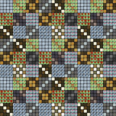 Abstract decorative ornamental mosaic pattern with floral tile element Stock Photo