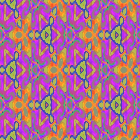 Abstract seamless pink blue orange yellow floral pattern Stock Photo