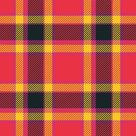 Pink red orange black tartan pattern