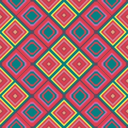 Abstract geometric red yellow pink green seamless pattern Stock Photo