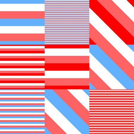Playful striped red blue white beach pattern Stock Photo