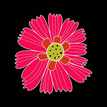 Design element flower pink bloom with yellow target white contour on black background Illustration