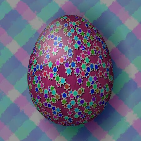 Easter egg decorated with small cute flowers on geometric background