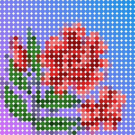 Beautiful low poly illustration of red flower usable as stitch pattern Illustration