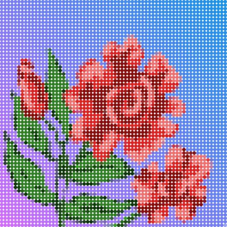 Beautiful low poly illustration of red flower artwork
