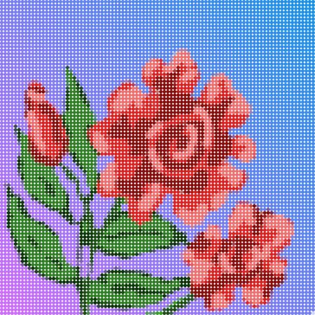 Red rose flower on blue purple gradient low poly grid or artwork