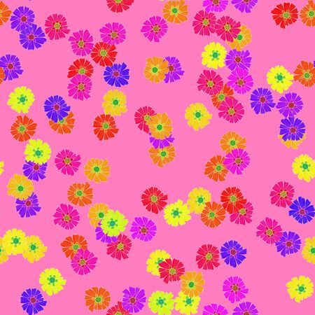 Colorful floral pattern on pink - seamless design tile