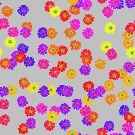 Colorful flowers on gray background decorative design
