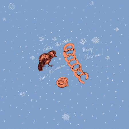 Hand-drawn stylized drawing of bird, Christmas chain, and halved walnut, tinted in orange, on a pale blue background with snowflakes, with Merry Christmas lettering in English, German and Spanish, endless repeatable pattern.