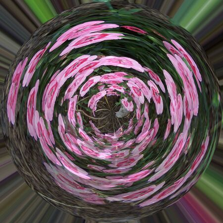Abstract spherical radiant pink green floral background