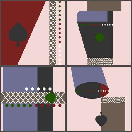 Set of four tiles in retro cubist style with a motif of geometric shapes and spades Illustration