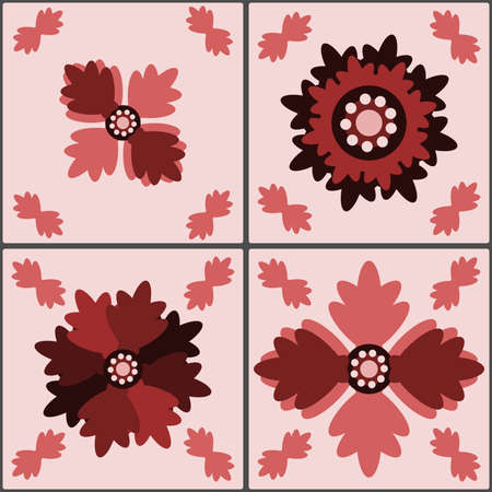 Set of retro country stylized floral tiles in red shades