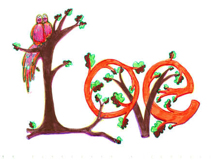 Inscription Love composed of oak branches - decorative style inspired medieval manuscriptes. Marker on plain paper.