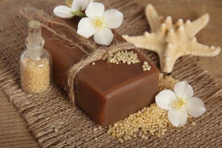 Bar of natural handmade soap. Spa photo