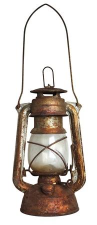 an oil lamp: Lámpara de aceite viejo aislada sobre fondo blanco Foto de archivo