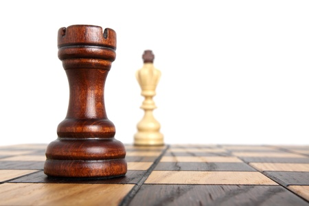 defeat: Rook opposite the king on a chess board Stock Photo