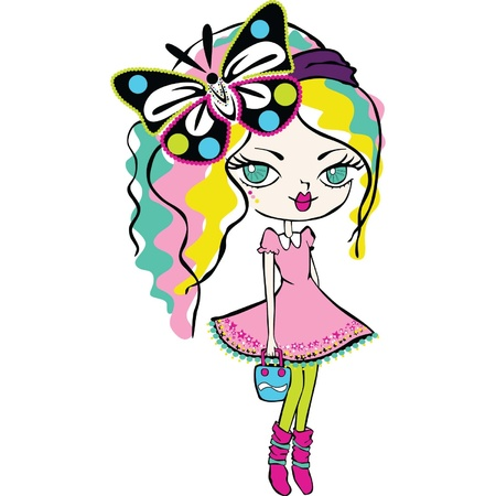blonde teenage girl: cute girl with butterfly Illustration