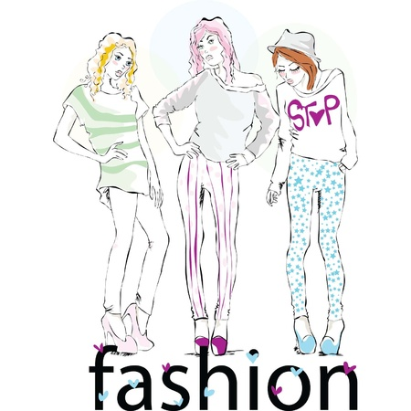 fashionable girls front of a camera Vector