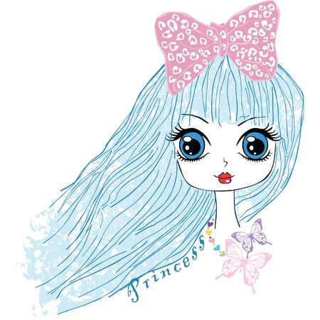 hair bow: big blue eyes and long hair Illustration