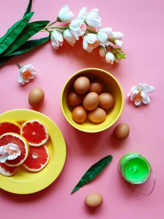 Eggs Red Grapefruits protein vitamin Pink white apple flowers green Stock Photo