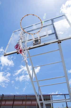 Basketball hoop against the blue sky  photo