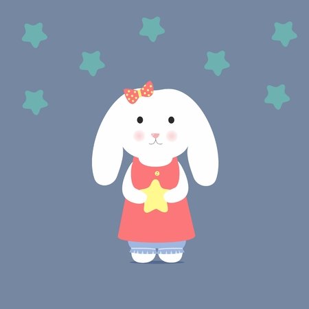 Cute Bunny holding a star Vector