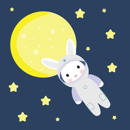 zero gravity: astonaut bunny in free space stock illustration
