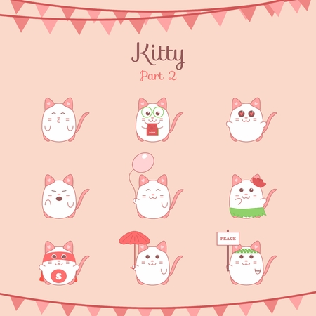 Cute funny cats set various emotions, stock vector illustration Vector