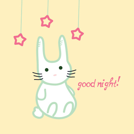 nochebuena: Conejito lindo, buena tarjeta de la noche, la ilustraci�n stock vector