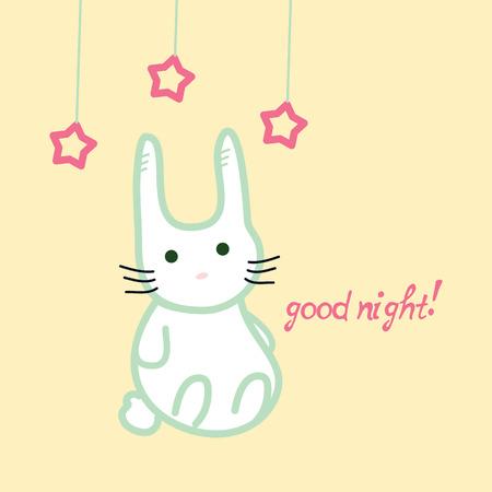 good night: Cute bunny, good night card, stock vector illustration