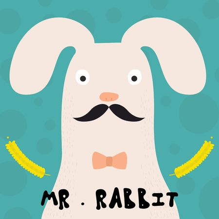 Card with rabbit on blue background, Stock vector illustration. Vector