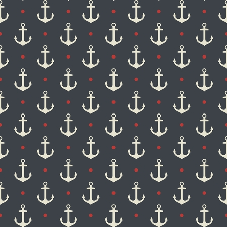 vectro: Vector hand drawn anchor seamless pattern, stock vectro illustration