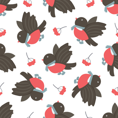 barbery: Bullfinches and rowan. Winter seamless pattern. Stock vector illustration.