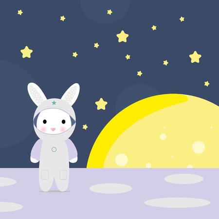 zero gravity: Funny bunny astounaut on the moon, stock vector illustration