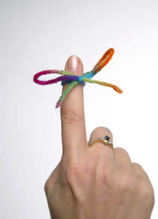 Knot tied on forefinger Stock Photo - 3193052