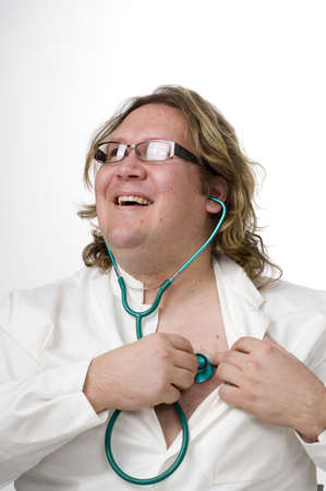 Doctor using stethoscope on himself Stock Photo - 3193100