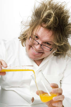 Crazy doctor doing research Stock Photo - 3193136