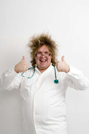 Crazy doctor showing double thumbs up Stock Photo - 3193154