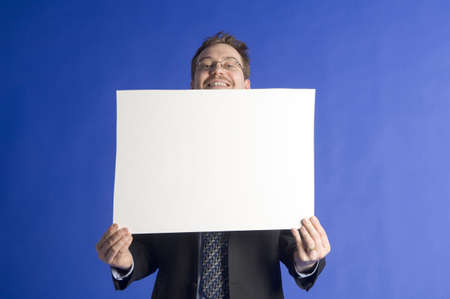 one sheet: Businessman posing with a censor sheet