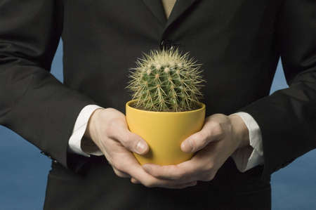 Midsection of businessman holding cactus in a pot Stock Photo - 3193318